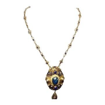 Austro-Hungarian Lapis Pearl Necklace