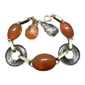 Art Deco Carnelian Rock Crystal Bracelet 14k