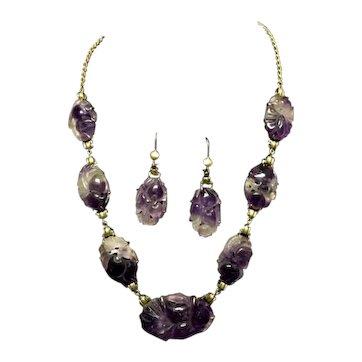 Carved Amethyst 14k Necklace & Earrings