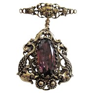 Stunning Amethyst Glass Pin Pendant Ornate Figural Setting