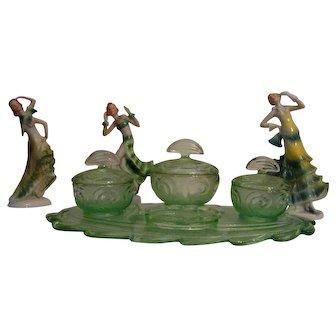Bagley Glass Vanity Set with 3 Porcelain Art Deco Dancers Art Deco