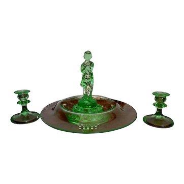 Cambridge Glass Art Deco Original Draped Lady Frog Light Emerald Set
