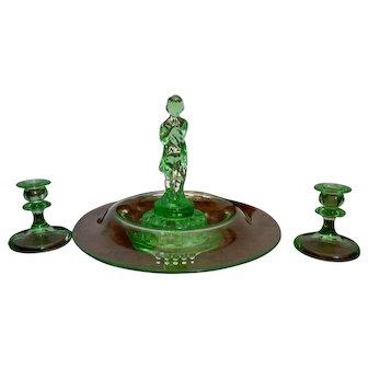 Cambridge Glass Art Deco Light Emerald Centerpiece Set