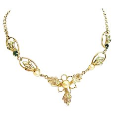 Elegant Emerald Green and Gold Tone Necklace by Duane