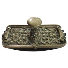 Superb Large Antique English Brass Green Man Desk Ink Blotter