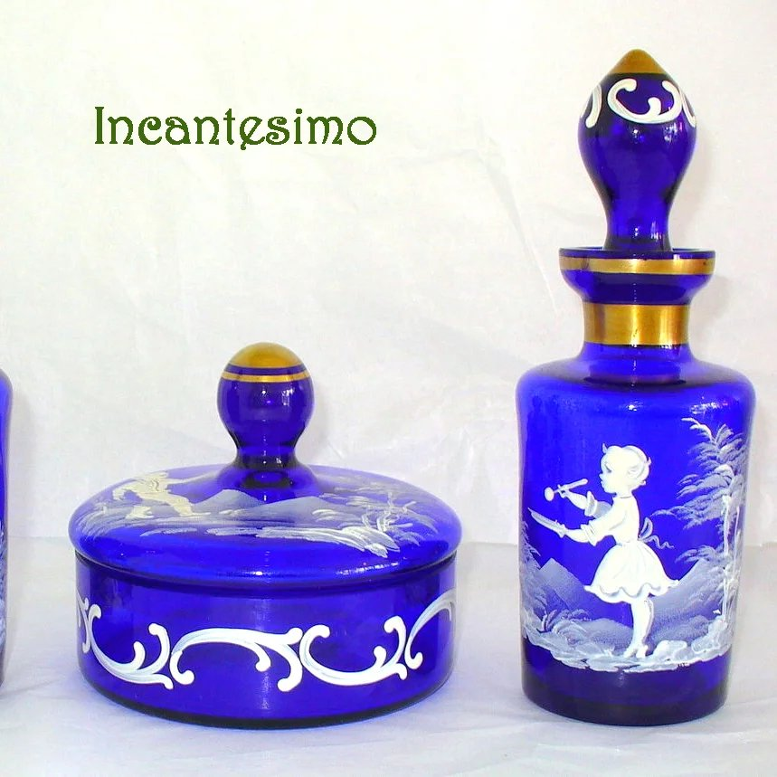 Cobalt Bohemian Mary Gregory Glass Boudoir Vanity Set Incantesimo Ruby Lane
