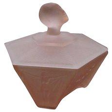 Ramses Vamp Figural Glass Art Deco Powder Jar Flapper Girl