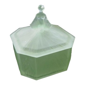 1930s Ramses New York Paris Glass Art Vanity Powder Jar