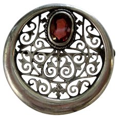 Silver Filigree and Garnet Round Pin 1910-20