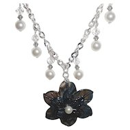 Focal Flower In Black With Black Diamond Swarovski Bicones And Glass Pearls