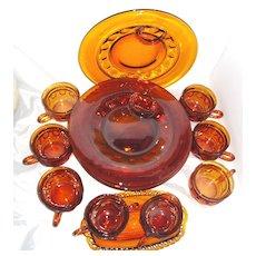 Tiffin Kings Crown Amber-Brown Thumbprint 15pc. Snack Set