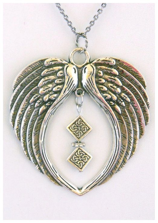 Antiqued silver plated wings pendant on long silver plated chain antiqued silver plated wings pendant on long silver plated chain aloadofball Choice Image