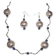 Large Shiny Silver Plated Balls And Blue Cathedral Beads Necklace Set