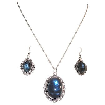 Blue Oval Cabochon Pendant Matching Earrings Silver Plated Chain