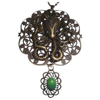 Unusual Antiqued Bronze Octopus Necklace