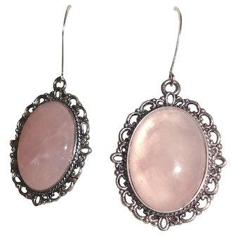 Pink Cabochons Earrings  Antiqued Silver Plate Oval Frame