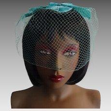 Teal Blue Veil Hat Vintage 1950s Fascinator Birdcage Bridesmaid