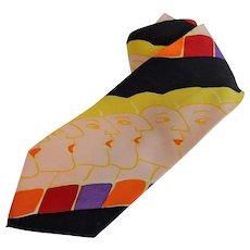 Vintage Beatles Necktie Tie Pop Art 1980s Silk Menswear Unisex Accessory - Red Tag Sale Item