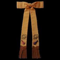 Rockabilly Western Bow Tie Vintage 1940s Art Deco Leather Fringe Banjo Fiddle Rare Big Band Era