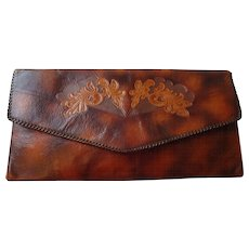 Meeker Steerhide Leather Clutch Vintage 1930s Arts and Crafts Purse