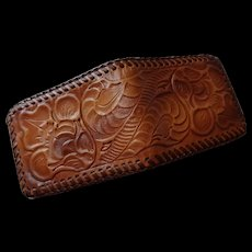 Hand Tooled Leather Wallet Vintage 1970s Bifold Western Never Used Pristine Condition - Red Tag Sale Item