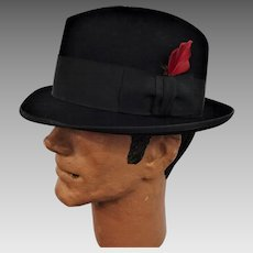 Black Royal Stetson Fedora Hat Vintage 1950s Rat Pack Sinatra