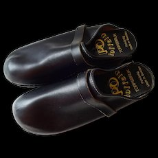 Mens Swedish Clogs Toffeln Vintage 1970s Black Leather Slip On - Red Tag Sale Item