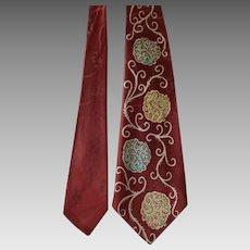 Vintage 1940s Necktie Tie Rayon Damask Thistle Cravat