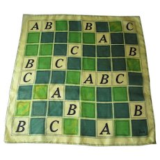 Vera Neumann Silk Scarf Vintage 1950s Handscreened ABCs - Red Tag Sale Item