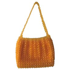 Yellow Beaded Purse Handbag Vintage 1960s Womens Top Handle Bag