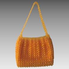 Yellow Beaded Purse Handbag Vintage 1960s Womens Top Handle Bag
