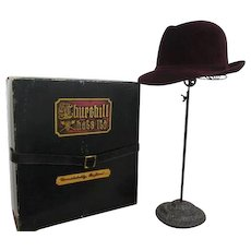 Mens Fedora Hat Vintage 1980s Crimson Churchill Hatbox