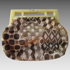 Vintage 1970s Purse Velvet Lucite Handbag