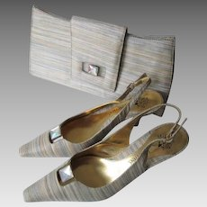 J Renee Purse Slingback Shoes Sandals Set Vintage 1980s Metallic