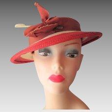 Orange Straw Hat Vintage 1960s Sailor Grosgrain Bow