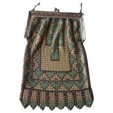 Whiting and Davis Enamel Mesh Purse Handbag Art Deco Chain Handle - Red Tag Sale Item