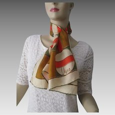 Vera Neumann Silk Scarf Vintage 1970s Long Silk Rayon Fall Colors Signed