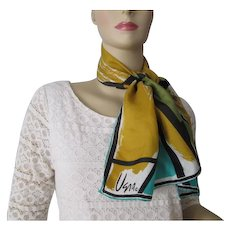Vera Neumann Head Scarf Vintage 1970s Geometric Silk Rayon Signed
