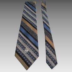Oleg Cassini Mens Wide Necktie Tie Vintage 1970s Diagonal Stripe Double Knit Polyester Mint