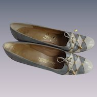 Mod Vintage Shoes Womens 1960s Stadium Grey White Leather Bow Tie