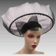 Outrageous Wide Brim Black Church Hat Vintage 1980s Straw Bow Sequins