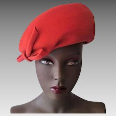 Orange Beret Hat Vintage 1970s Womens Structured Henry Pollak Wool Fall Colors Halloween