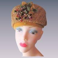 Pillbox Hat Vintage 1950s Mustard Yellow Straw Velvet Bow Millinery Berries