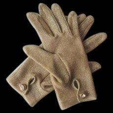 Gold Lame' Metallic Gloves Vintage 1970s Wristlet Rhinestone Buttons