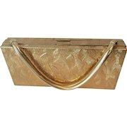 Evans Minaudiere Box Dance Purse Gold Plated Vintage 1940s Handbag Cigarette Case Lipstick Powder Compact