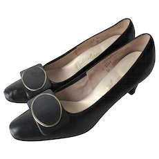 Mod Womens Black Stadium Shoes Vintage 1960s Naturalizer Leather Pumps Shoe Clips