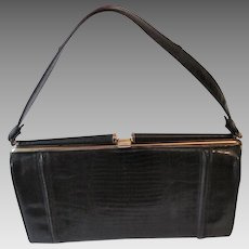 Embossed Leather Lizard Purse Vintage 1950s Black Gold Metal Frame Handbag