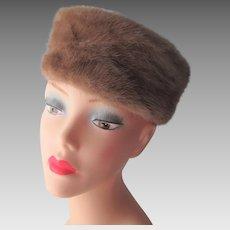Mink Fur Pillbox Hat Vintage 1950s Knob Top Honey Brown Styled By Coralie Caramel
