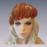 Pheasant Feather Hat Vintage 1940s Cocktail Whimsy Topper Wide Headband Hatpin