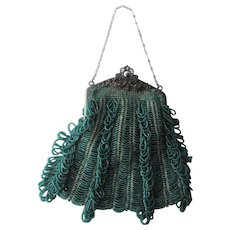 Antique Victorian Purse Handbag Late 1800s Green Beaded Fringe Ornate Jeweled Pewter Frame Chain Handle